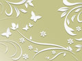 Abstract Background With Paper Flowers And Butterflies. Royalty Free Stock Photo - 64817395