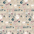 Seamless Pattern With Winter Garden Flowers, Foxes And Scarf, Ha Stock Photos - 64839603