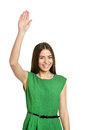 Beautiful Woman With Hand Up Stock Image - 64855311