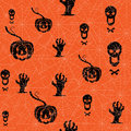 Seamless Halloween Background. Pumpkin, Skull And Contorted Hands On An Orange Backdrop With Spider Web. Stock Photo - 64856820