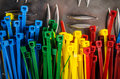 Set Colored Cable Ties Stock Images - 64859454