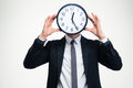 Businessman In Black Suit With Clock Instead Of Head Royalty Free Stock Photography - 64865857