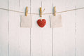 Two Blank Old Paper And Red Heart Hanging. On White Wooden Stock Photography - 64870582