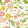 Grunge Floral Vector Pattern With Hand Drawn Stock Images - 64874794