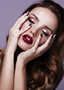 Red Sexy Lips And Nails Closeup. Open Mouth. Royalty Free Stock Photography - 64876137