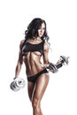 Fitness Sexy Young Woman In Sport Wear With Perfect Fitness Body Training With Dumbbells Stock Image - 64880211