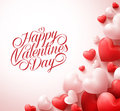 Happy Valentines Day Greetings With 3D Realistic Red Hearts And Typography Royalty Free Stock Photo - 64882345