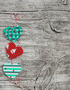 Homemade Paper Hearts Garland.Valentine S Day Wooden Texture, Background. Stock Images - 64883424