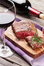 Grilled Beef Steak And Wine Royalty Free Stock Images - 64884759