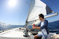 Man Sailing With Boat Stock Photo - 64885970