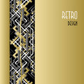 Background With Golden Silver Black Art Deco Outline Style Design. Royalty Free Stock Images - 64887789