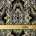Background With Golden Silver Black Art Deco Outline Style Design. Stock Photos - 64887893