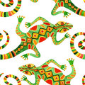 Watercolor Seamless Cactus Pattern With Lizards Stock Photography - 64888382