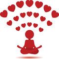 Yoga Man Icon.Wi-Fi Red Hearts Hot Spot Concept. Royalty Free Stock Images - 64889949