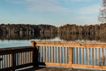 Stumpy Lake In Fall From Fishing Pier Royalty Free Stock Images - 64896789