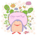 Stylish Cartoon Card Made Of Cute Flowers, Doodled Penguin Royalty Free Stock Image - 64899996