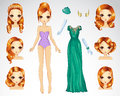 Red Hair Set For Green Paper Doll Royalty Free Stock Images - 64909429