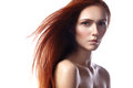 Beautiful Ginger Young Woman With Flying Hair And Naturel Makeup. Beauty Portrait Of Sexy Model With Straight Red Hair Royalty Free Stock Photo - 64912695
