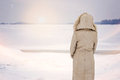 Woman And Magic Winter Close To The Frozen River Royalty Free Stock Photography - 64918027