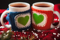 Two Warm Cups Of Tea Or Coffee With Heart For Royalty Free Stock Photo - 64920735