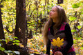 Walk In Golden Autumn Forest Expectant Mother Stock Images - 64922704