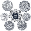 Set Of Sketchy Doodle Decorative Flowers And Curves Stock Photo - 64926310