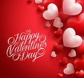 Valentine Hearts In Red Background Floating With Happy Valentines Day Greetings Stock Photo - 64931620