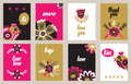 Hand Drawn Vintage Floral Card Collection Stock Images - 64953504