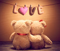 Valentines Day.Word Love Heart.Couple Teddy Bears Royalty Free Stock Photo - 64954935