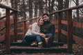Loving Young Couple Happy Together Outdoor On Cozy Warm Walk Royalty Free Stock Photo - 64959795