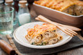 A Piece Of Cheese Crusted Crepe Bake Stock Photo - 64962480
