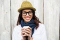 Hipster Woman With Take-away Coffee Royalty Free Stock Photos - 64972318