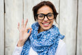 Smiling Hipster Woman Doing The Ok Sign Stock Photos - 64972433