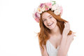 Cheerful Happy Young Redhead Woman In Roses Wreath Stock Image - 64980551