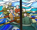 Stained Glass Picture Of Men In Rowing Boat Stock Photos - 64983263
