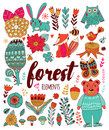 Vector Forest Elements In Doodle Childish Style Royalty Free Stock Photos - 64987578