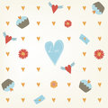 Sweet Seamless Valentine S Day Pattern. Tile Background With Hearts Cupcakes And Flowers. Hand Drawn Wrapping Paper Texture Royalty Free Stock Image - 64989036