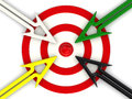 Target And Arrows Directed To The Center Royalty Free Stock Image - 64993586