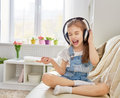 Girl Listening To Music Stock Images - 65002564