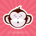 Cartoon Monkey Face With Surprised Expression On Pink Background Stock Photo - 65017180