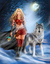 Winter Warrior Princess And  Wolf Stock Photo - 65020740