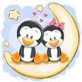 Two Penguins On The Moon Royalty Free Stock Images - 65021779
