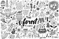 Vector Forest Elements In Doodle Childish Style Stock Photography - 65022712