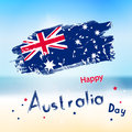Australia Day With Grange Flag On Blur Background. Sea And Ocean Stock Photo - 65029760