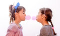 Portraits Of Beautiful Little Girls Blowing Bubbles Royalty Free Stock Photo - 65031885