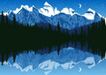 Lake Near The Pine Forest In Mountains Under The Night Sky Royalty Free Stock Photography - 65037207