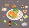 Thai Food (Thai Fried Noodle With Prawn) Stock Photography - 65037712
