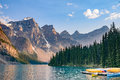 Boats In Moraine Lake Near Lake Louise - Banff National Park - Canada Stock Photos - 65044513