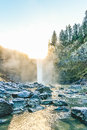 Scenic View Of Snoqualmie Falls With Golden Fog When Sunrise In The Morning. Royalty Free Stock Image - 65059716