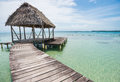 Wooden Bridge Over The Sea In Bocas Del Toro, Panama Royalty Free Stock Photo - 65060605